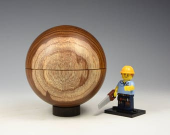 Laburnum wooden sphere box, wood turning, fathers day gift, fromthetree