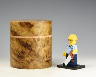 Golden camphor burr & ash wooden box, wood turning, gift for men, fromthetree
