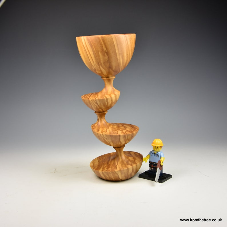 wood turning fromthetree Eccentrically turned Olivewood wooden goblet gifts for men