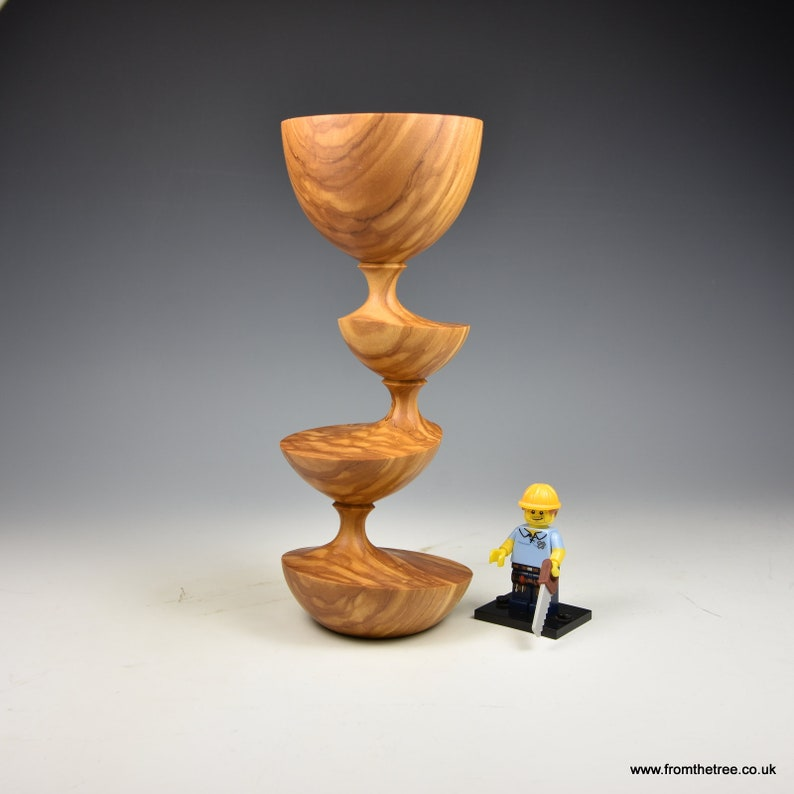 fromthetree wood turning Eccentrically turned Olivewood wooden goblet gifts for men