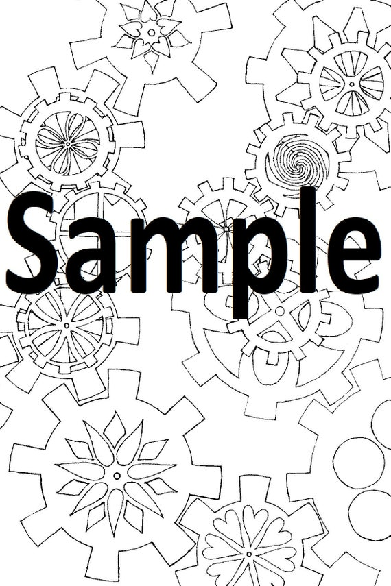 Digital Coloring Page Steampunk Gears 1