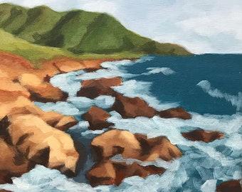 Rocky Coast- modern impressionist seascape original wall decor painting 9x12