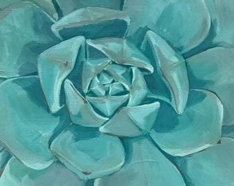 Blue echeveria- original succulent cactus plant wall art decor painting 8x11