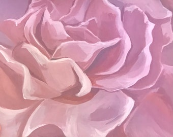 Pink Rose original flower painting wall decoration acrylic painting 11x14