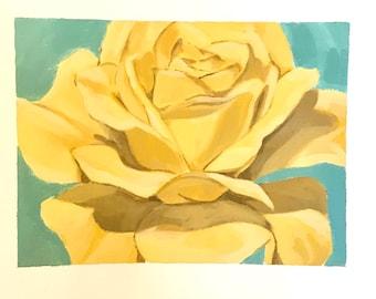 Yellow rose original art painting flower painting wall decor 11x14