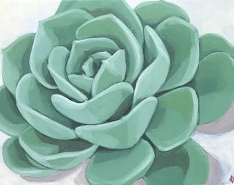 Echeveria - Original Modern Wall art decor succulent painting glicee art PRINT  8x10