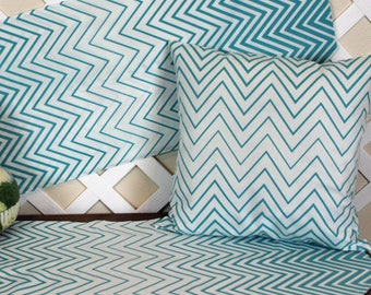 Table Runner.  Pillow Cover.  Teal variegated stripe unquilted table runner and pillow cover.