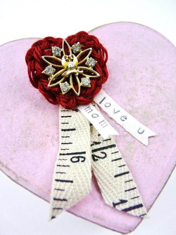 Love U Mom Heart Pin Crochet Brooch Red Mother Heart Vintage Etsy