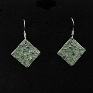 Rounded square drop silver earrings with light and dark green faux enameling