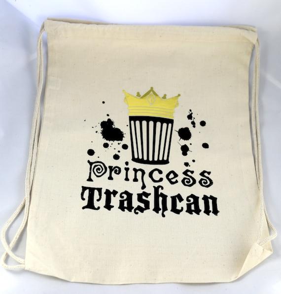 Princesse poubelle toile et or miroir sac à dos ou sac cabas