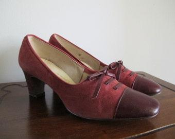 1940s Shoes / 40s Burgundy Heels