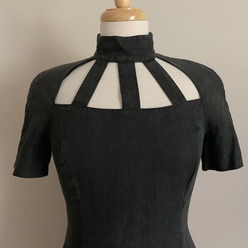 Vintage Black Linen Wiggle Dress with Neck Cutouts