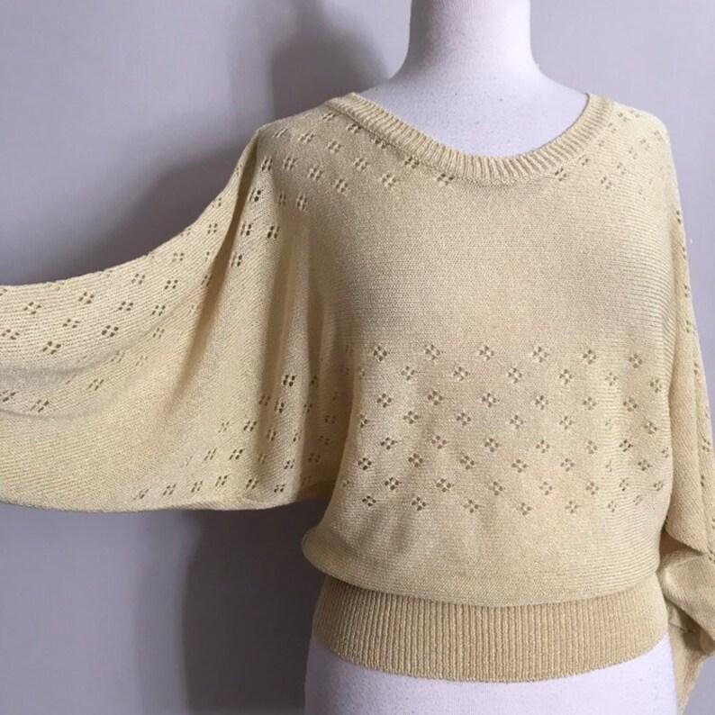 60s Buttery Yellow Slinky Knit Dolman Sleeve Sweater