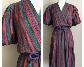 70s Bright Print Dress with Edwardian Inspired Sleeves