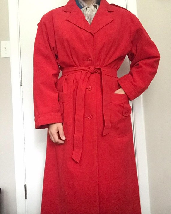 70s Ultra Suede Red Trench Coat