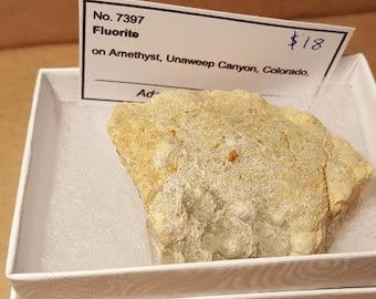 Beautiful Fluorite on Amethyst specimen