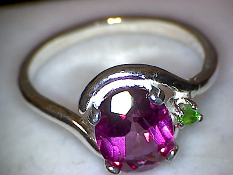 Beautiful Pink Topaz with Tsavorite Crescent Ring