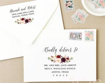 envelope template floral printable envelope addressing template wedding envelope addressing marsala calligraphy script wedding envelope