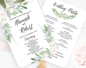 Wedding Program Fan Template, Greenery Wedding Program Fan Printable, Botanical Wedding Program, Succulent Wedding Program