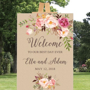 Blush Wedding Sign Welcome to Our Happily Ever After Sign W201 Welcome Wedding Sign Printable