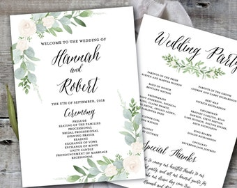 Wedding Program Template, Greenery Wedding Program Printable, Wedding Program Printable, Botanical Wedding Program, Rustic Wedding Program