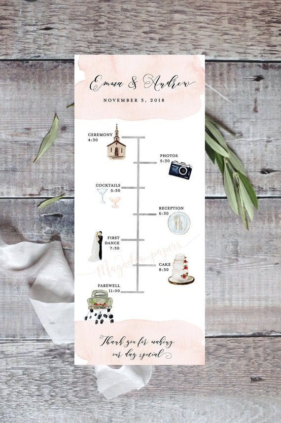 Wedding Timeline Editable Timeline Printable Wedding