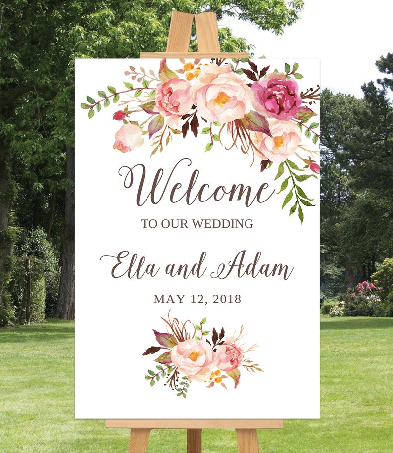 image relating to Welcome Sign Templates known as Wedding day Welcome Signal Template, Wedding ceremony Welcome Indication Printable, Wedding day Signal, 16x20, 18x24, 24x36, Blush Crimson Floral, Wedding day Welcome Poster
