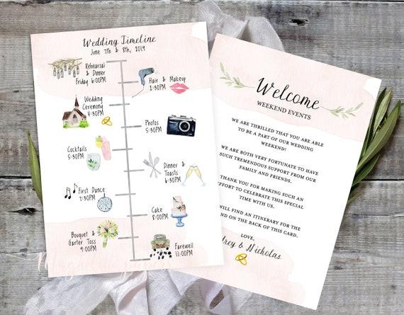 Order Of Events Wedding.Wedding Timeline Editable Timeline Printable Wedding Schedule