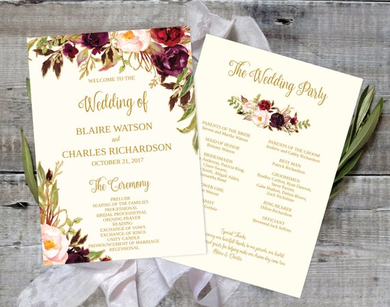 wedding program template printable editable fall floral etsy