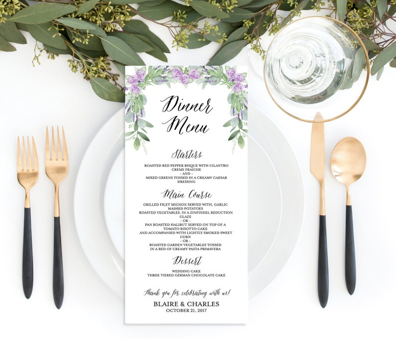 Lavender Wedding Menu Purple Menu Template Greenery Wedding Menu Printable 4x9 Rustic Wedding Menu Printable Wedding Menu Template
