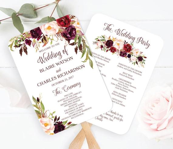 Wedding Program Fan Template.Marsala Wedding Program Fan Template Marsala Program Fan Etsy