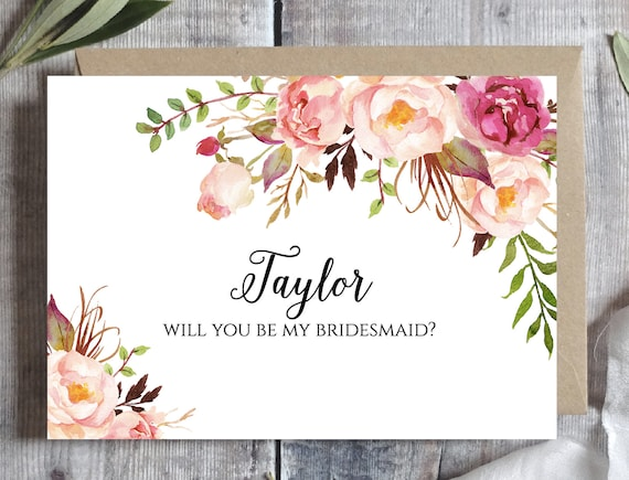 photo about Printable Will You Be My Bridesmaid called Bridesmaid proposal card Template, Will your self be my bridesmaid