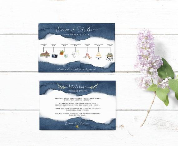 Wedding Timeline Printable Editable Navy Timeline Template