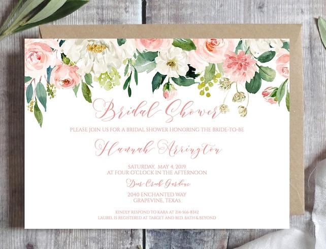 Blush Pink Bridal Shower Invitation Template Blush Pink Printable