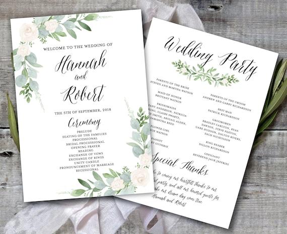 Wedding Program Template, Greenery Wedding Program Printable ...