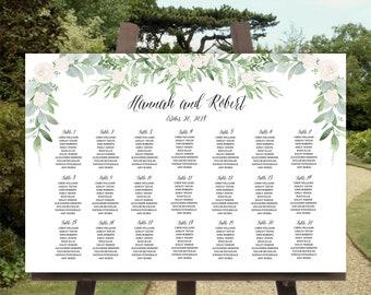 Greenery Seating Chart Template, Printable Seating Chart, Seating Chart Floral Template 36x24, Seating Plan Wedding Vertical or Horizontal