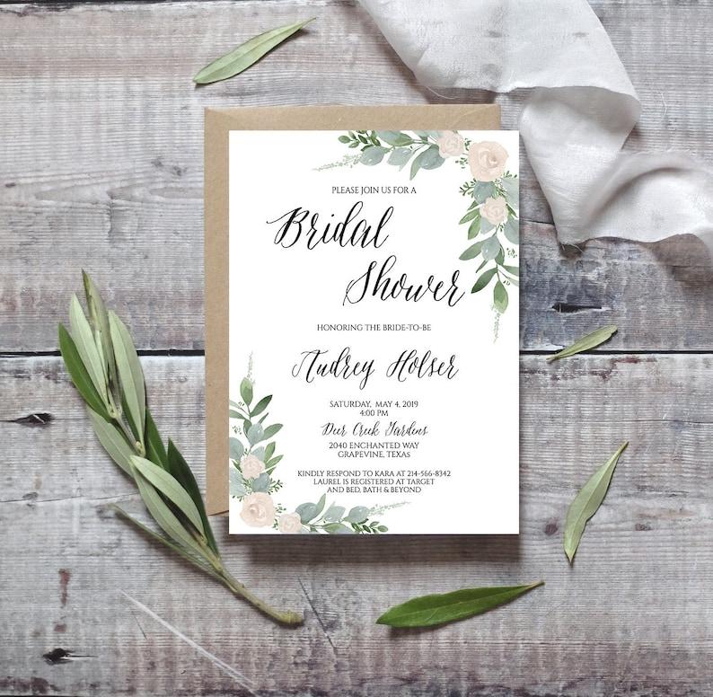 Printed Bridal Shower Invitation Garden Bridal Shower Rustic Bridal Shower Invitation Greenery and Cream Floral Bridal Shower Invitation