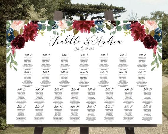 Printable Wedding Seating Chart Template Marsala Seating Chart