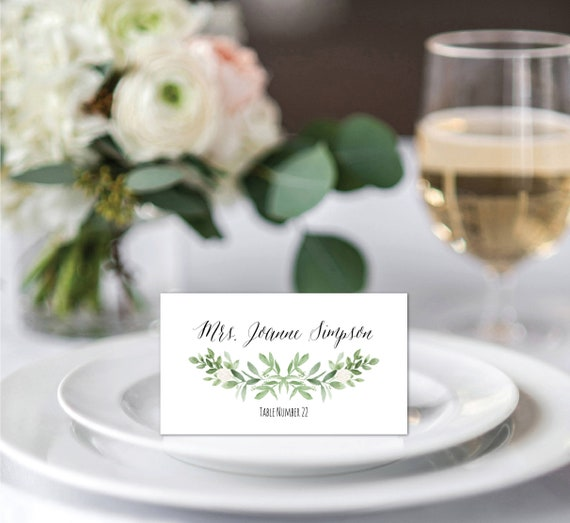Place Cards Template Place Card Printable Greenery Place Card