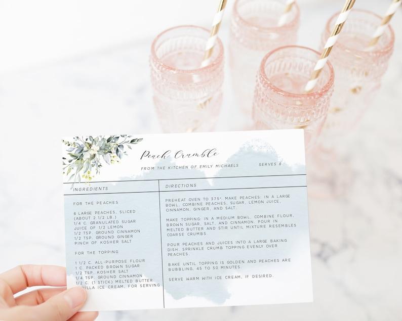 4x6 DIY Editable Recipe Card Template Dusty Blue Printable Recipe Card Instant Download Succulent Recipe Card Template Bridal Shower