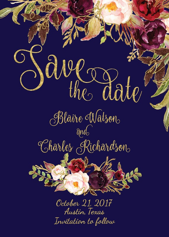 Watercolour Blue Floral Rustic Personalised Wedding Invitations