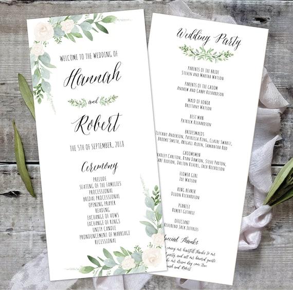 Instant Download,wc019 Wedding Program Template Wedding Ceremony Program Greenery Wedding Program Printable Wedding Program Template