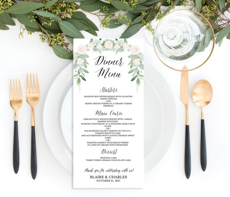 5x7 Greenery Wedding Menu PRINTED Wedding Menu Green and Cream Menu Botanical Wedding Menu Rustic Menu Floral Wedding Menu