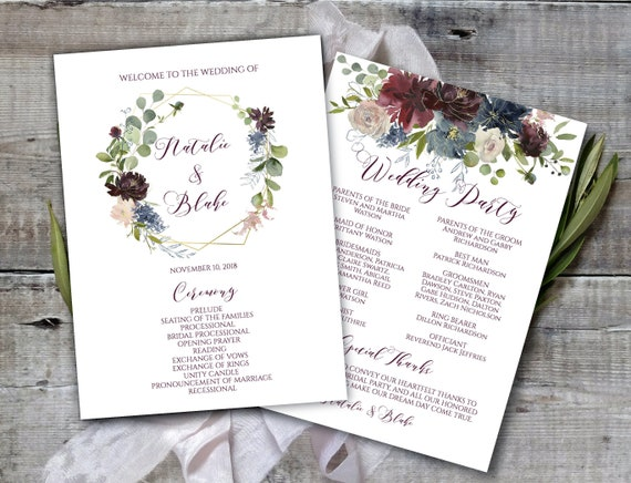 Printable Wedding Program Template Marsala Navy Gold Program Etsy