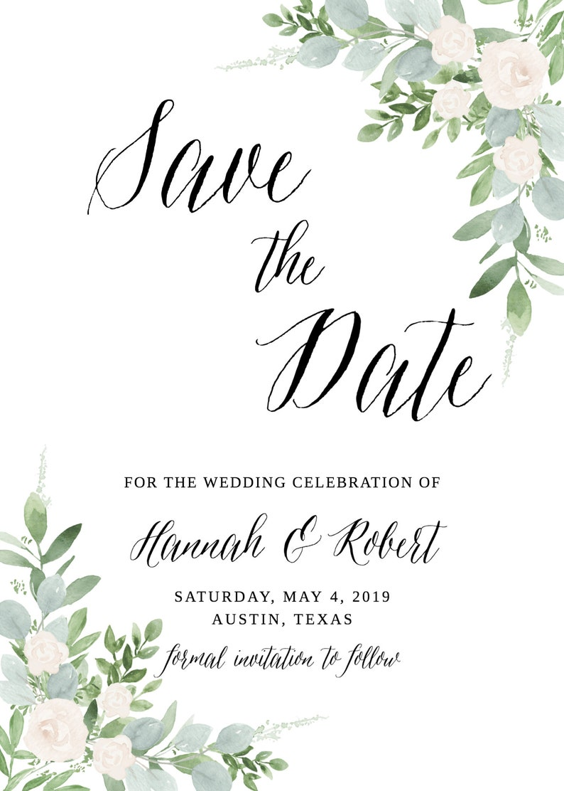 Succulent Save the Date Botanical Save the Date Greenery Save the Date Printable Template Save our Date Printable Save the Date Template