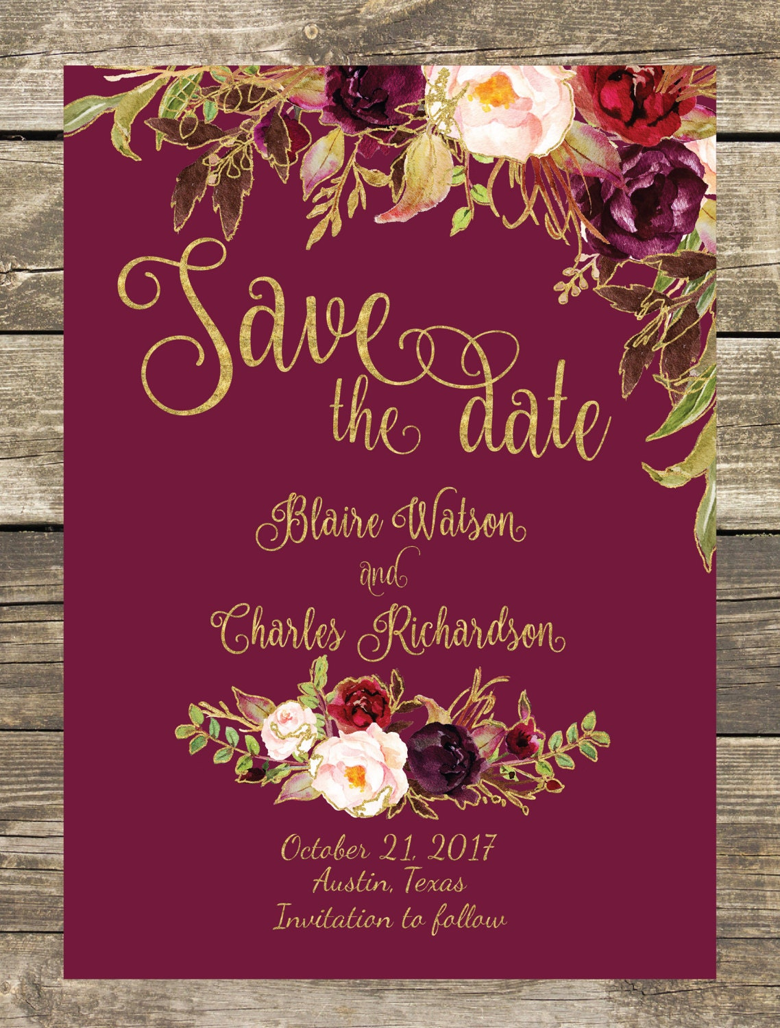 Printed Save The Date Fall Floral Watercolor Wedding Gold | Etsy