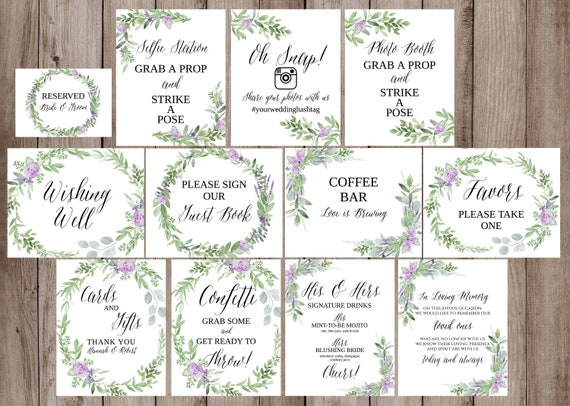 graphic regarding Printable Wedding Signs called Wedding day Symptoms Offer Template, Printable Marriage ceremony Signage, Greenery, Lavender Marriage ceremony Signs or symptoms Printable, Marriage Indicators Botanical, Wedding day Indicator