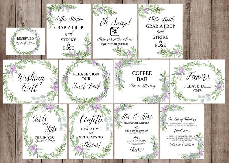 graphic about Wedding Signs Printable titled Marriage ceremony Signs and symptoms Package Template, Printable Wedding day Signage, Greenery, Lavender Marriage Indicators Printable, Wedding day Symptoms Botanical, Wedding ceremony Indication