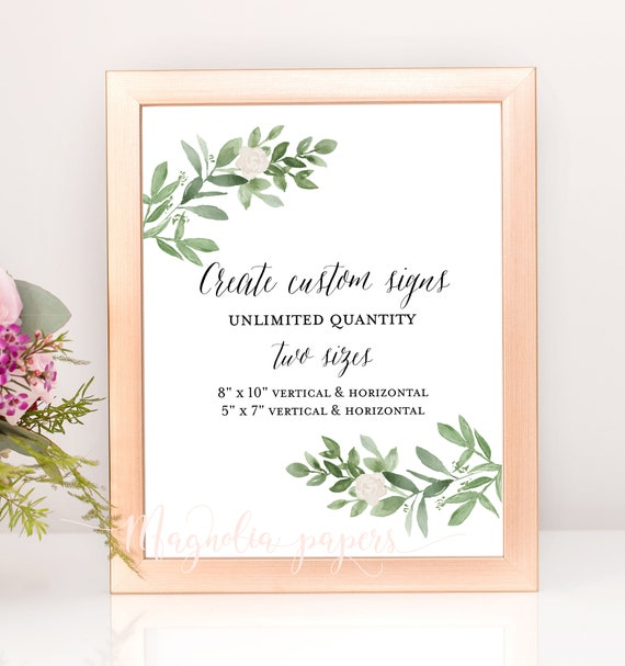 wedding signs template unlimited wedding signage greenery etsy