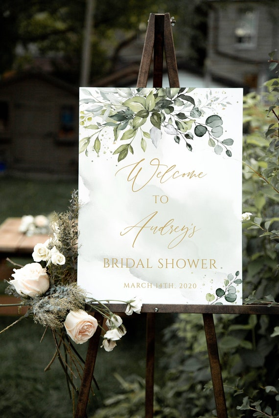Baby or Bridal Shower Welcome Sign Greenery /& Gold